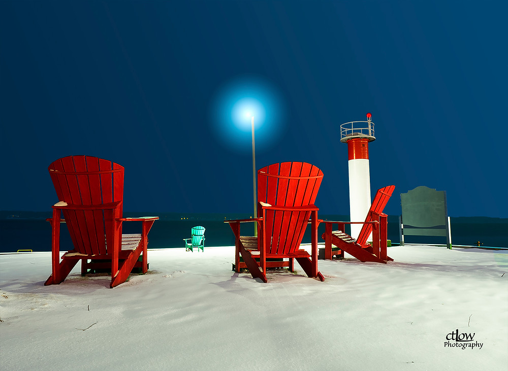 Blockhouse Island over-sized chairs snowstorm winter pre-dawn