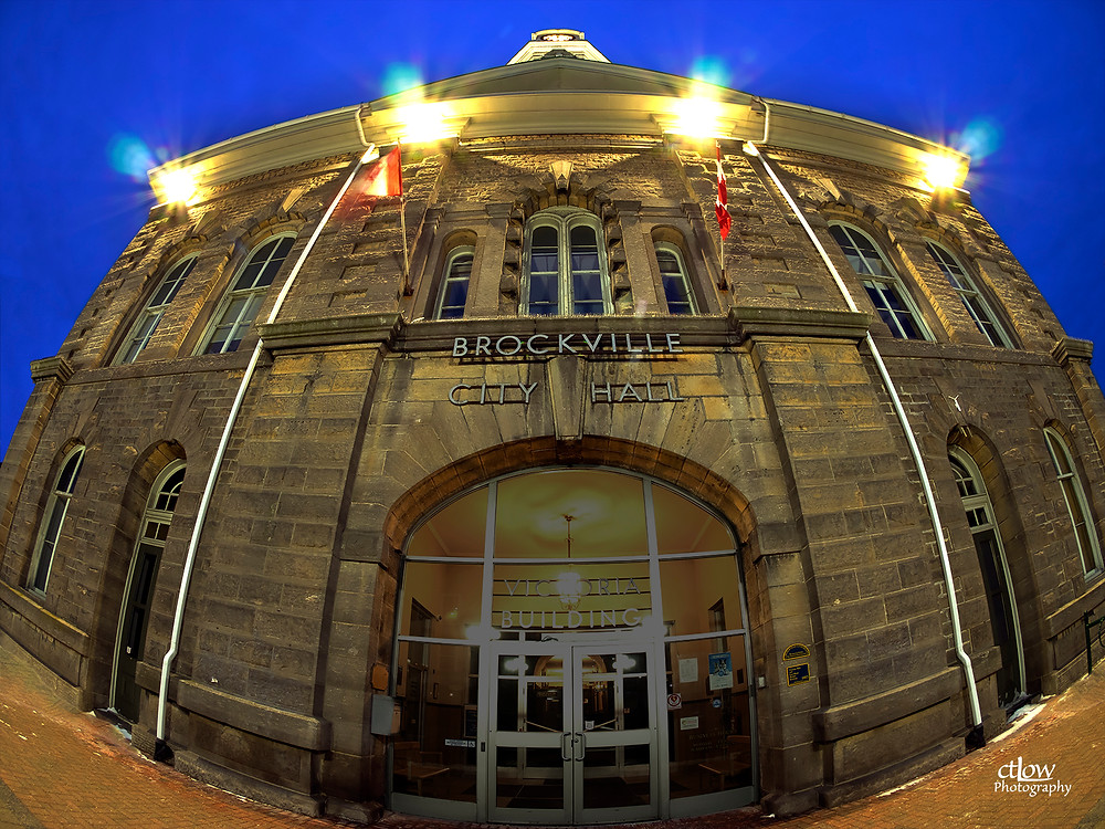 Brockville City Hall dawn sunrise fisheye UWA