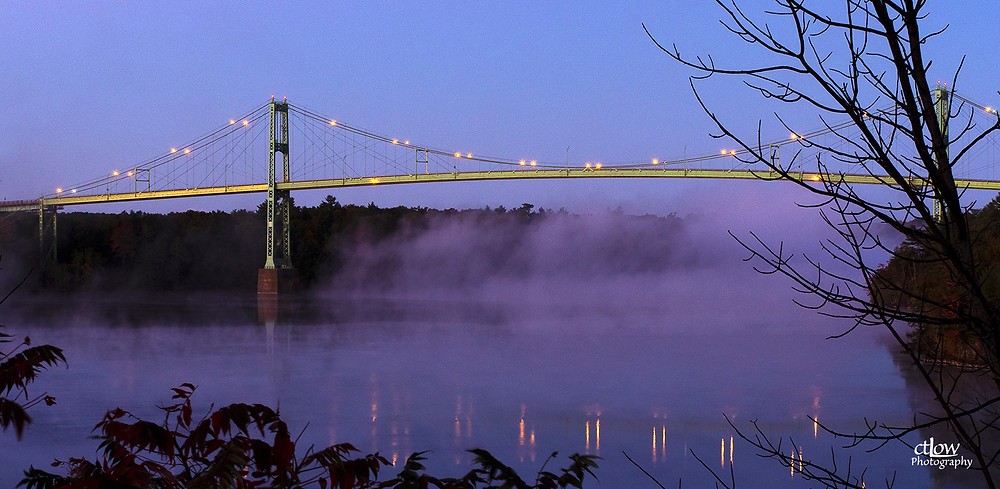 Thousand Islands Bridge dawn fog