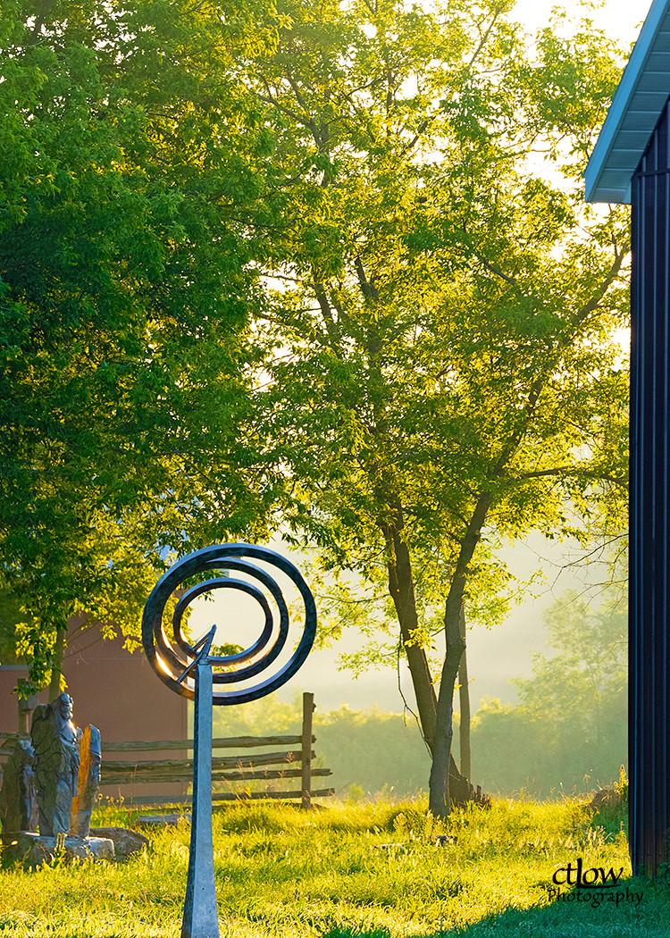 Gibbons Farm outdoor sculpture sunrise