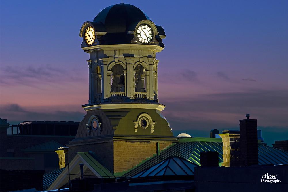 Brockville City Hall clock tower dawn