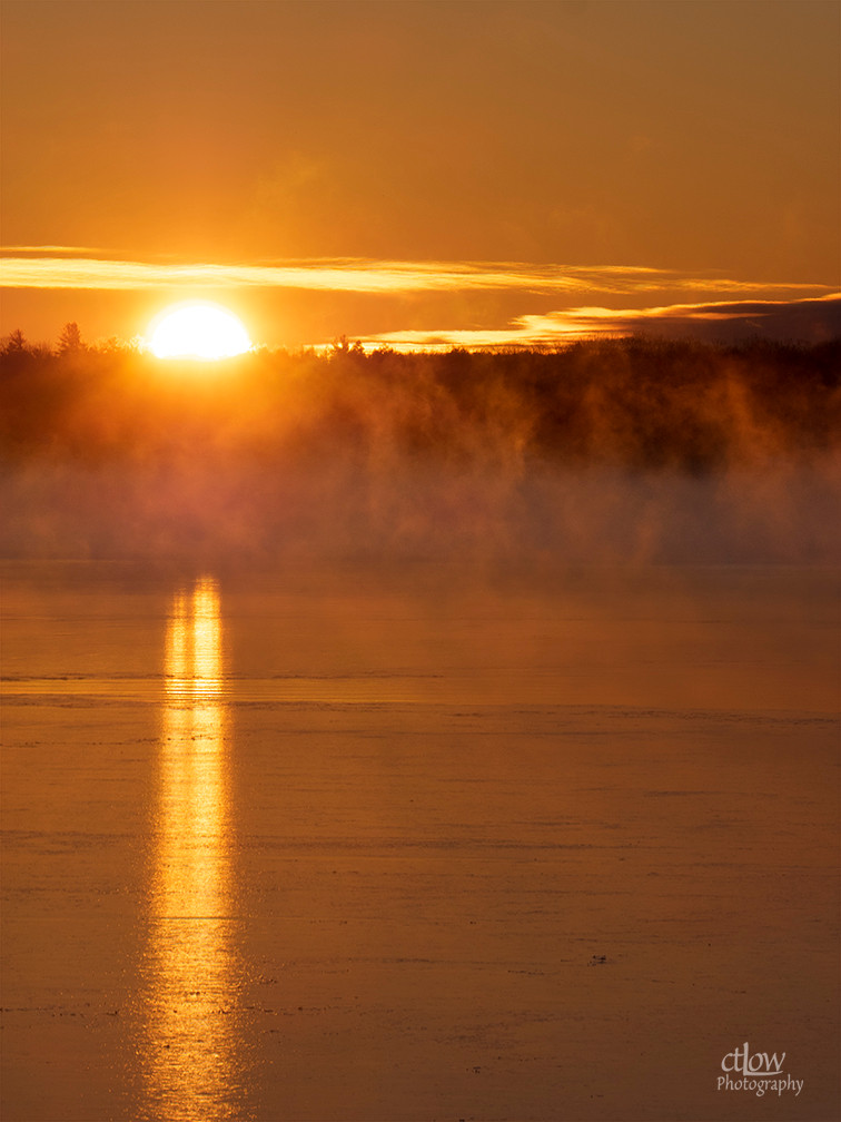 Sunrise cold fog St. Lawrence River