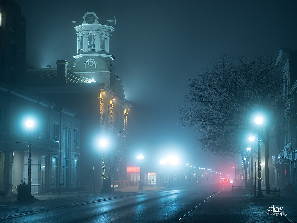 Downtown Brockville in night-time fog