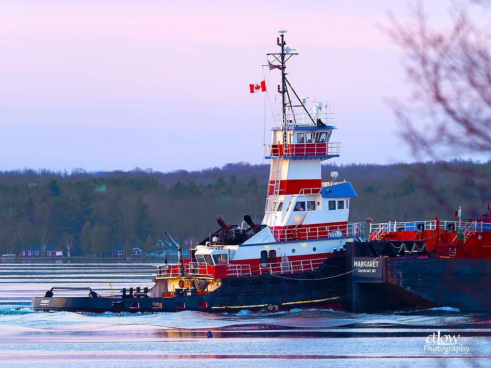 Tugboat Albert pushing the barge Margaret