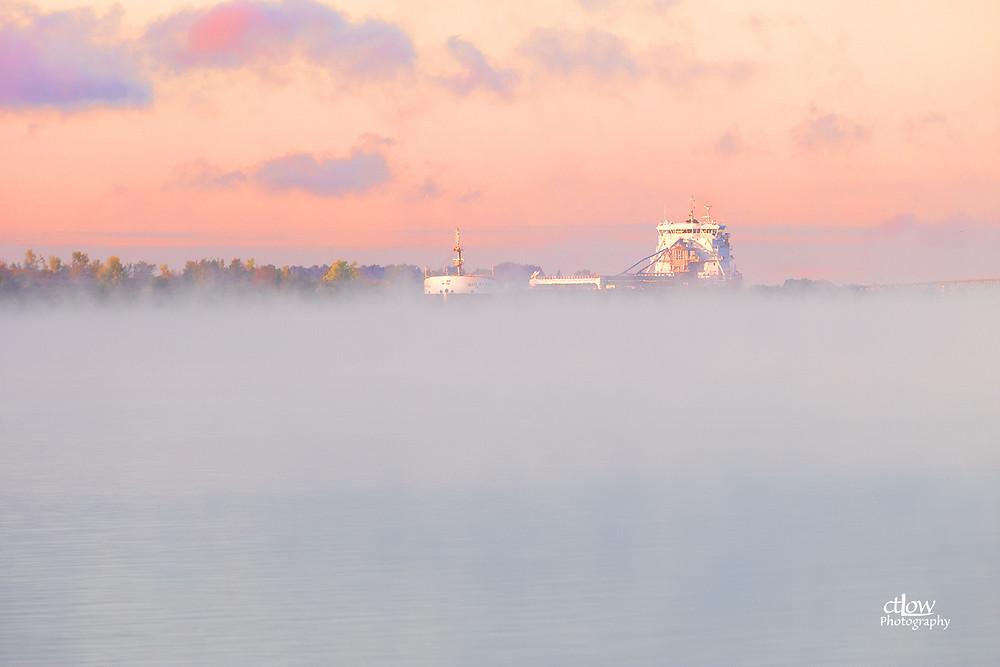 Freighter Baie St. Paul, Cardinal - foggy dawn