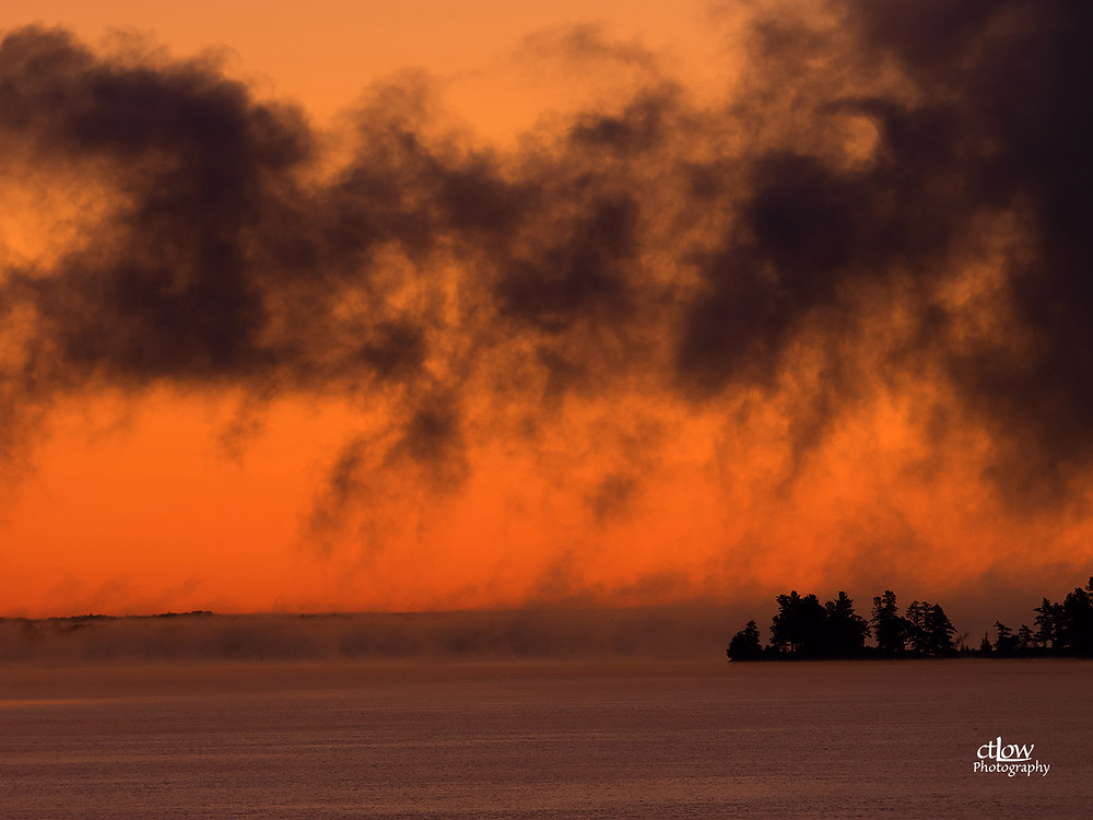 dawn on the St. Lawrence River -where does the fog end and the clouds begin?