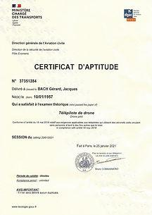 Certificat d'aptitude télépilote drone