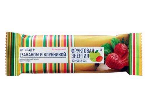 """Фруктовый батончик неглазированный """"Банан и клубника """" 30г."""