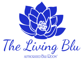 The Living Blu logo stacked