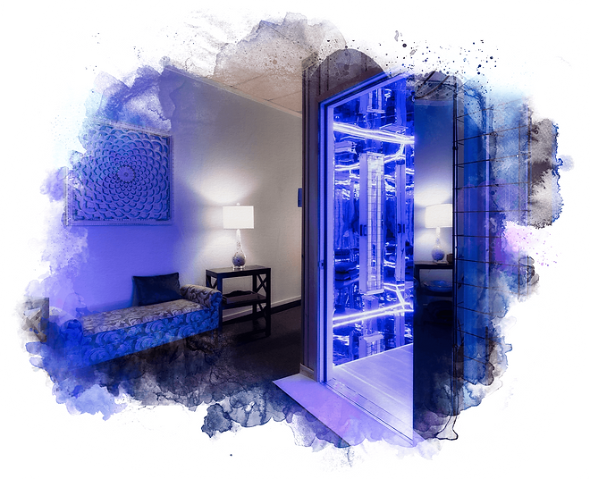 entrance to the blu room at the Living Blu