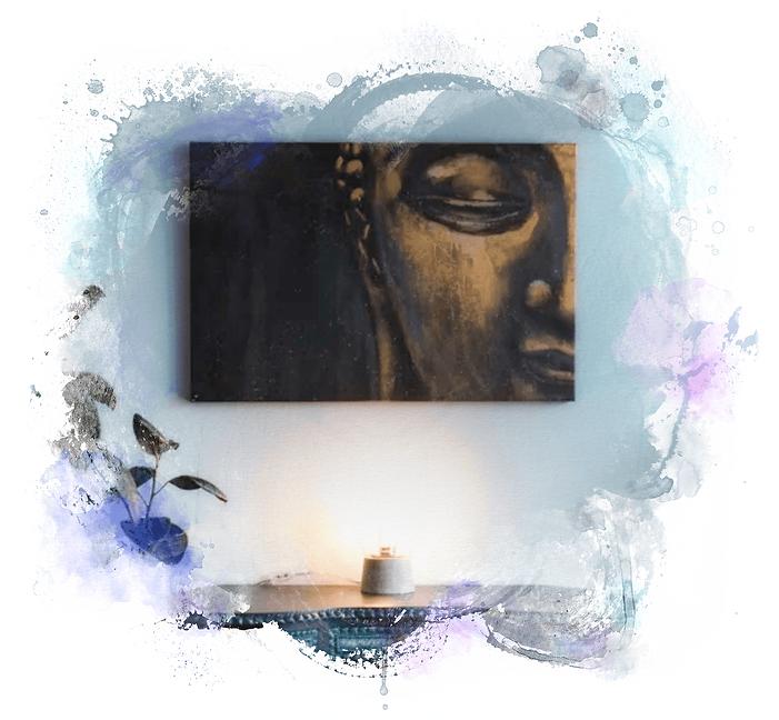 Painting of gold Budda statue hung at the Living Blu