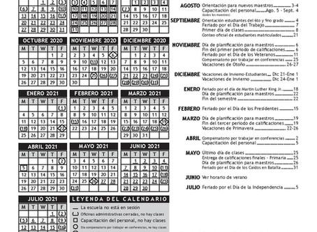 Calendario Escolar 2020-2021 de USD 259 -Wichita