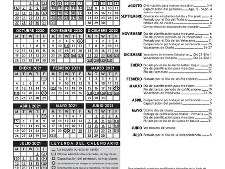 Calendario Escolar 2020-2021 de USD 259 -Wichita