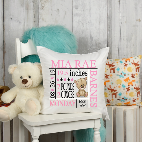 Pink Bear Birth Stat Pillow Cover