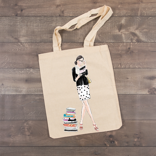 Girl reading a book-Polka Dot Skirt Tote (sublimation)