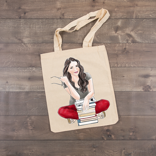 Girl reading a book-Red Pants Tote (sublimation)