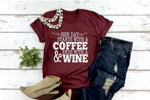 Her day starts with coffee and ends with wine