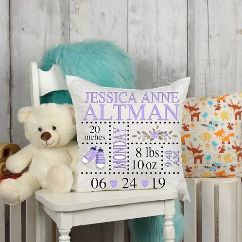 Purple Tennis Shoe Birth Stat Pillow Cover