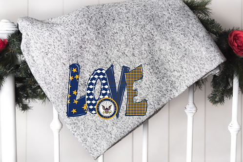 Navy LOVE Blanket