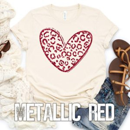Red Metallic Leopard Heart