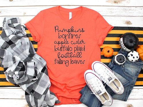 Pumpkins Bonfires Apple Cider Buffalo Plaid Football Falling Leaves
