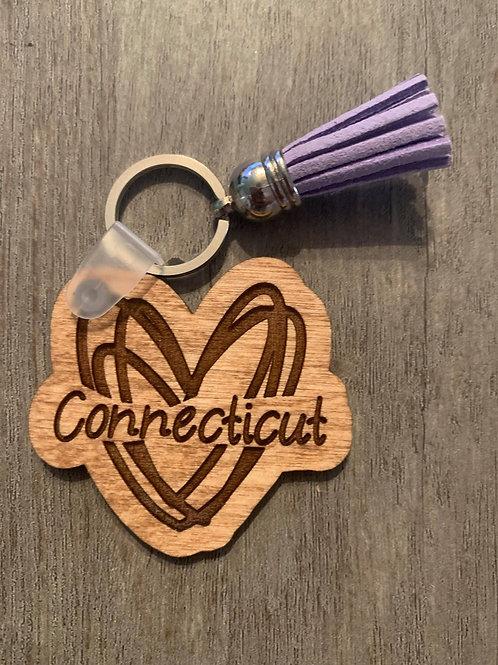 Connecticut Heart Keychain