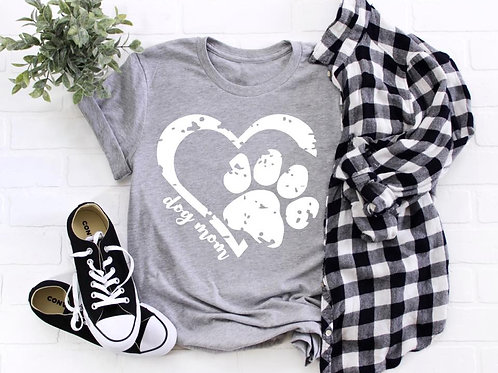 Dog mom-heart with paw