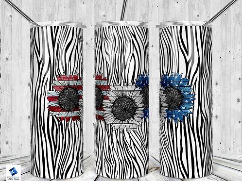 Red White and Blue Sunflower