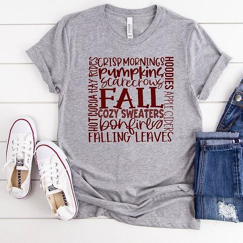 Fall word art (maroon ink)
