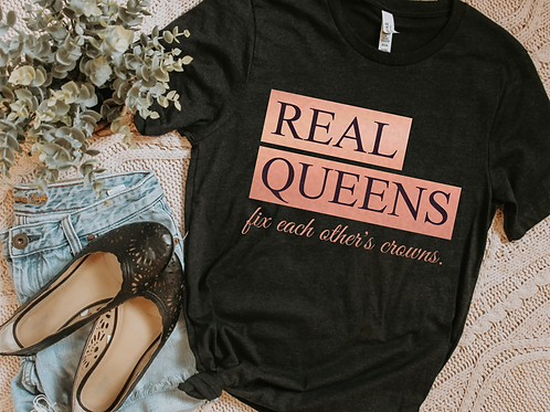 Real Queens fix each other's crowns (rose gold)