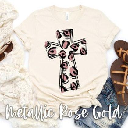 Rose Gold Leopard Cross