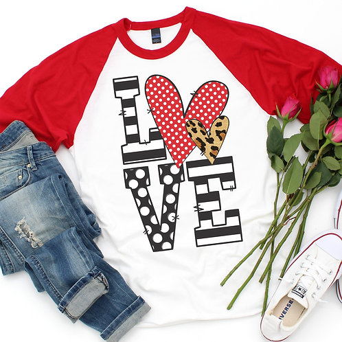 LOVE with polka dot and leopard heart