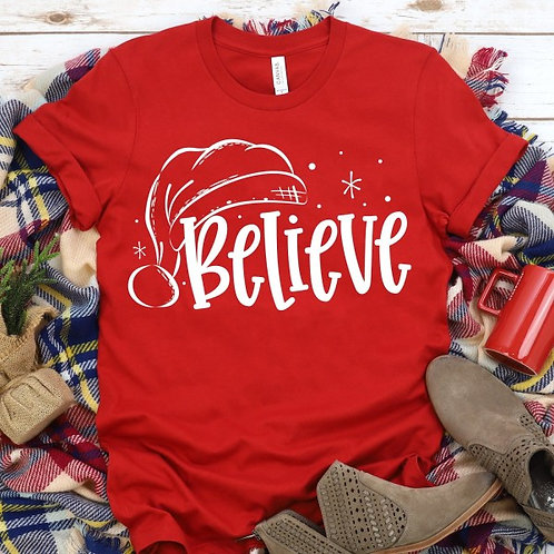 Believe with Santa hat