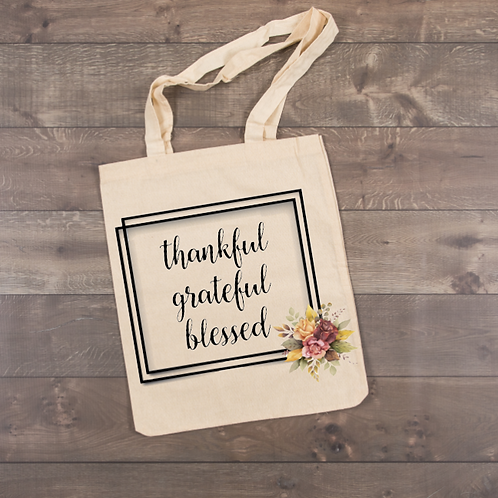 Thankful, grateful, blessed Tote (sublimation)