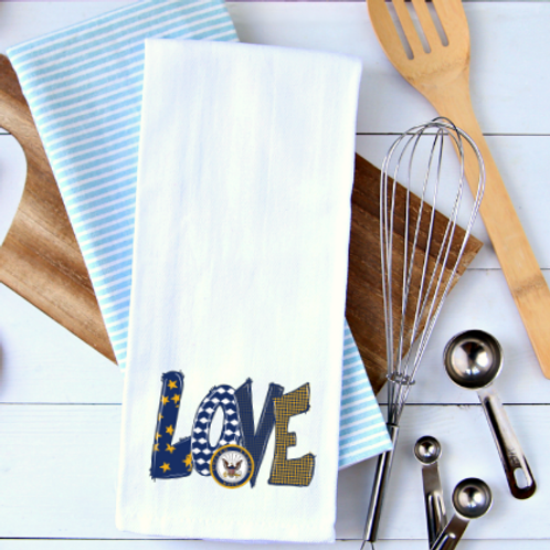 Love Navy Tea Towel
