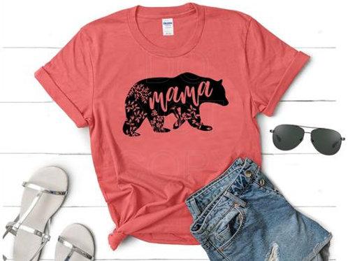 Mama Bear with flowers (black)