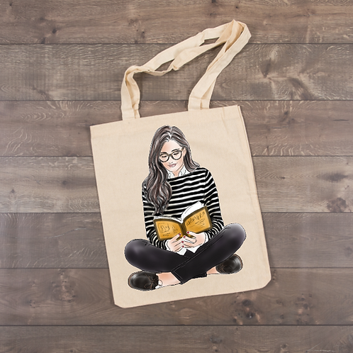 Girl reading a book-Striped Shirt Tote (sublimation)