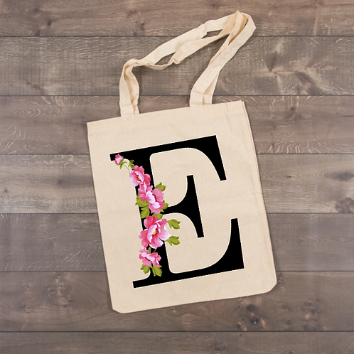 "Pink Flower ""E"" Tote (sublimation...all letters available)"