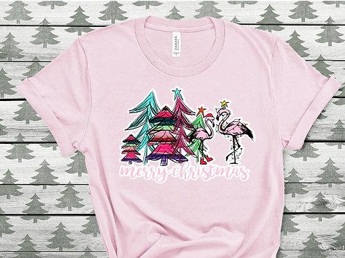 Merry Christmas Flamingos