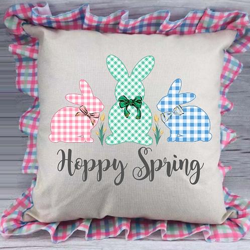Spring Plaid Pillow Cover (Hoppy Easter)
