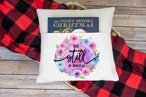 Be still and know pocket pillow cover