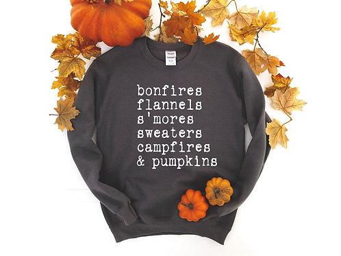Bonfires Flannels S'mores Sweaters Campfires and Pumpkins
