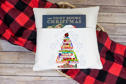 Christmas tree book pocket pillow cover