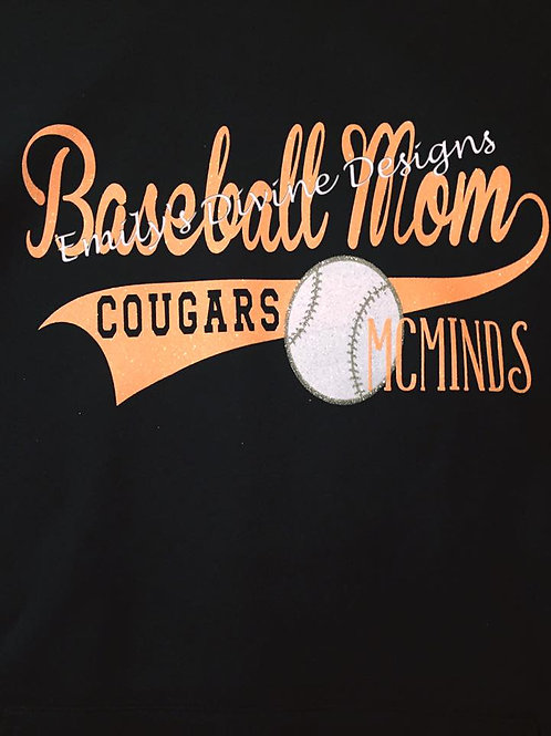 Baseball Mom Hooded Black Sweatshirt