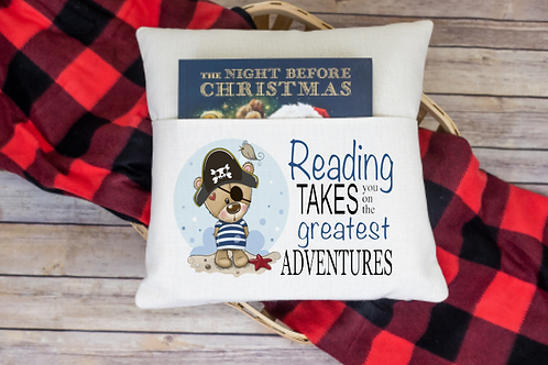 Reading takes you to (pirate) pocket pillow cover