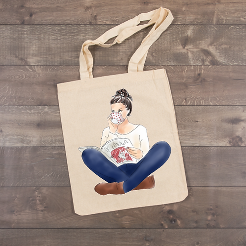 Girl reading a book-Jeans Tote (sublimation)
