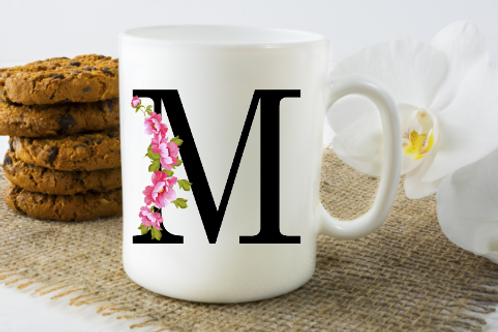 Pink Floral Initial Cup