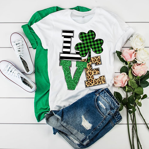LOVE-Shamrock, Glitter, and Leopard