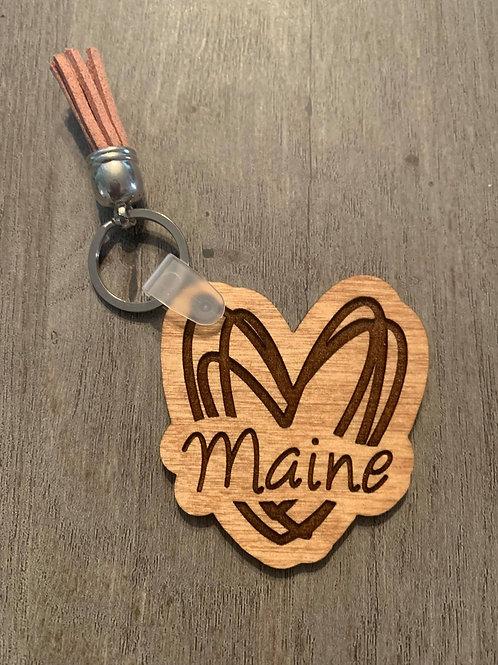 Maine Heart Keychain