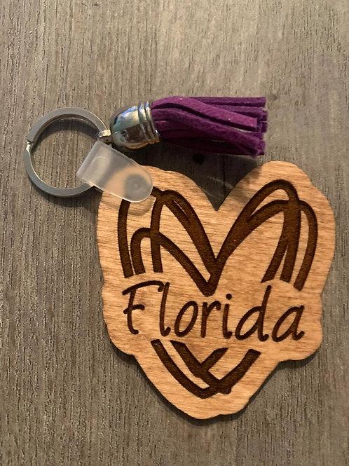 Florida Heart Keychain